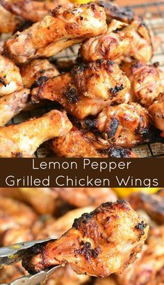 Grilled chicken wings can't get much better than these tasty lemon pepper marinated wings. Teriyaki Chicken, Chicken Wing Marinade, Marinated Chicken Wings, Lemon Pepper Chicken Wings, Bbq Chicken Wings, Grilled Chicken Wings, Grilled Chicken Recipes, Chicken Wing Recipes, Bbq Marinade