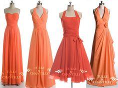 Bridesmaid's dresses in color pumpkin for fall 2014 | Vestidos de madrinas en color calabaza para el otoño 2014