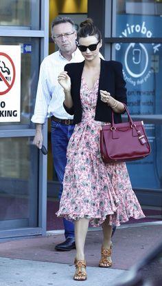 Miranda Kerr Street Style - Summer Dress & Blazer