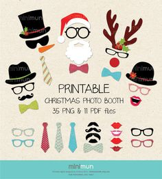 Christmas Photo Booth. Christmas Party Printables. 35 Digital Images Moustaches, Lips, Snowman, Santa Clause. DIY