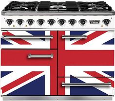 Falcon's 1092 range cooker proudly features the Union Jack design Kitchen Stove Design, Union Jack Decor, Union Flags, British Things, Range Cooker, British Style, British Decor, Ovens, Decoration