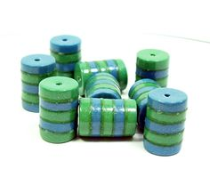 Polymer Clay Blue and Green Striped Tube Beads - Handmade