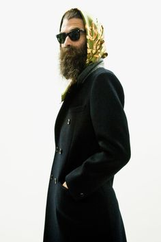 It's elegant and suits him. Without it he's awfully wild. For LABRAT, sort of an anti-fashion fashion line. Anti Fashion, Hipster Fashion, Mens Fashion, Beard Fashion, Hipster Style, Image Fashion, Fashion Line, Beard Model, Long Beards