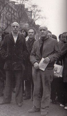 Michel Foucault and Jean Genet in 1972 at an anti racist demonstration.  (Sipa/Cotte)