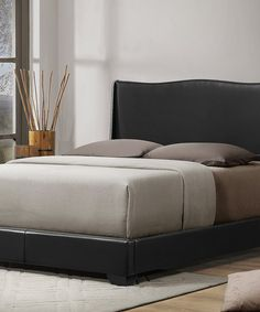 Another great find on #zulily! Black Duncombe Modern Bed & Upholstered Headboard #zulilyfinds