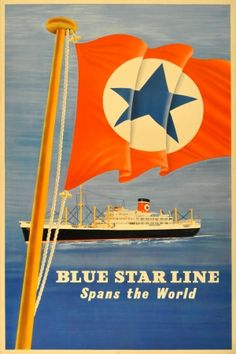 Blue Star Line Cruise Ship, 1950s - original vintage poster listed on AntikBar.co.uk