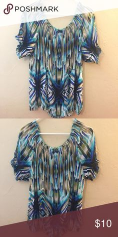 Elegant Comfy Plus Blouse Elegant and super comfy gauzy blouse in ocean colors. Slightly sheer and can be worn with camisole or pretty bra. Worn twice. Worthington Tops Blouses