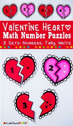 A Printable Valentine Heart Number Matching Activity thats simple to set up and easy to adapt for any young learning sta Math Activities For Kids, Valentine Crafts For Kids, Valentines Day Activities, Winter Crafts For Kids, Valentine Heart, Fun Math, Kids Math, Spring Activities, Valentine Ideas