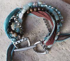 Multi Strand Womens Bracelet Amazonite Chain Silk Ribbon Czech Glass Bronzite by ToZenAndBack on Etsy https://www.etsy.com/listing/258549198/multi-strand-womens-bracelet-amazonite