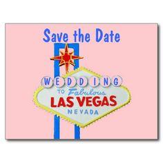 Las Vegas Sign Save the Date Postcard