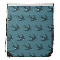 Flying Bird Pattern blue.ai Drawstring Backpack #backpack #birds