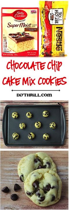 Chocolate Chip Cake Mix Cookie Recipe! Just 4 ingredients and you've got crazy delicious cookies to satisfy those cravings!
