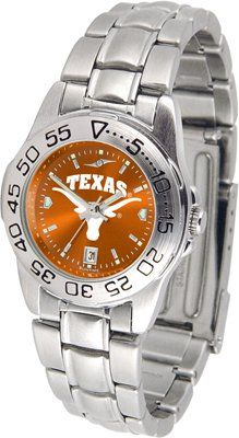 Texas Longhorns Stainless Steel Women's Sport Watch by SunTime. $49.95. 3 year limited warranty from the manufacturer. NCAA Officially Licensed Product. Stainless steel with Anochrome team logo face. Anochrome dial, date calendar function. This Texas Longhorns womens sports watch is stainless steel and features an anochrome team color face. AnoChrome dial increases the visual impact with a stunning radial reflection similar to that of the shiny underside of a musi...