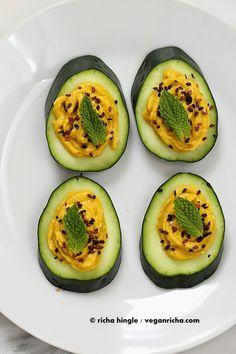 Cucumber Hummus Sesame Seed Mint Appetizer Bites. Vegan Glutenfree Recipe - Vegan Richa