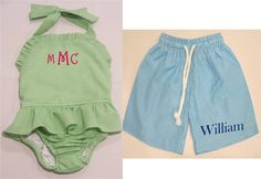 Children's Monogrammed Gingham Swimsuit  by MeadowCrestMonograms, $29.95