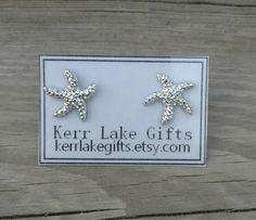 Starfish earrings studs, Starfish charm earrings, Silver starfish, Nickel free plastic post, Starfish stud earrings in silver, Silver studs by kerrlakegifts on Etsy https://www.etsy.com/listing/522941593/starfish-earrings-studs-starfish-charm