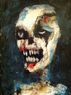 """ZOMBIE    abstract,   original art,ACEO  jack larson 3.5""""x2.5"""" #Abstract"""