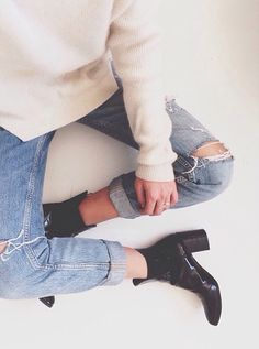 Denim & ankle boots.