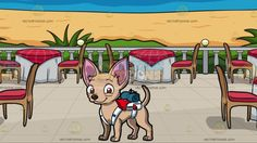 A Tiny Chihuahua Carrying A Backpack And Camping Cloth With A Restaurant Patio Overlooking The Ocean Background :  A tiny dog with big pink ears and tan short fur smiles while looking ahead a white with red bag and a rolled teal cloth is strapped on to its back and A patio with a blue sea view beige sand green plants five round tables wrapped in white and red cloth brown chairs with red cushion