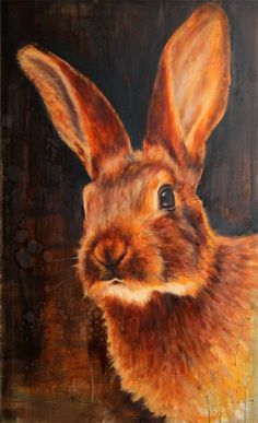 ' Young hare' oilpainting, 90 x 150 cm, nanouk weijnen, 2012 Bunny Painting, Figure Painting, Rabbit Pictures, Rabbit Art, Bunny Art, Wildlife Art, Animal Paintings, Beautiful Creatures, Illustration Art