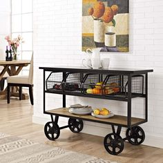 Discover the top-rated farmhouse style kitchen island carts and farmhouse bar carts on wheels. We have a huge selection whether you need a kitchen island on wheels for your farmhouse kitchen or a farmhouse rolling bar cart with a tray on top. Wood Storage Shelves, Storage Baskets, Wire Baskets, Shelving, Kitchen Furniture, Modern Furniture, Brown Furniture, Kitchen Dining, Kitchen Carts