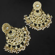 KUNJAL PEARL LONG CHAND EARRINGS @ Indiatrend For $70.99USD With Free Shiping Worlwide