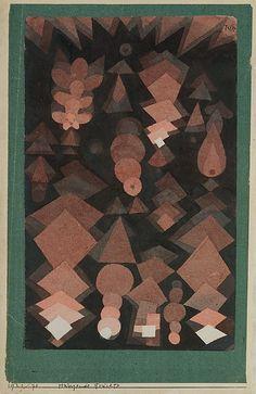 Fruit suspendido  Paul Klee (alemán (nacido en Suiza), Münchenbuchsee 1879-1940 Muralto-Locarno)  Fecha: 1921 Medio: Acuarela y grafito sobre papel Dimensiones: H. 9-3/4, W. 6 pulgadas (24,8 x 15,2 cm.) Clasificación: Dibujos Línea de crédito: La Colección Berggruen Klee, 1984