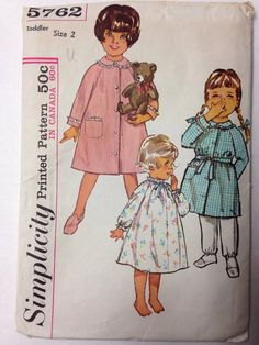 5762 Simplicity Vtg 60s Toddler Sz 2 Nightgown by IdealPatterns