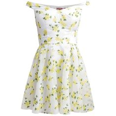 Chi Chi London Summer dress flower ($95) ❤ liked on Polyvore featuring dresses, vestidos, yellow, summer dresses, floral print dress, off shoulder dress, white floral dress and short dresses