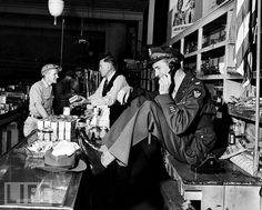 Jimmy Stewart, in his father's hardware store in Indiana PA, just home from the war...