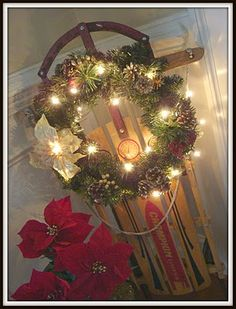 Christmas Wreath and Sled