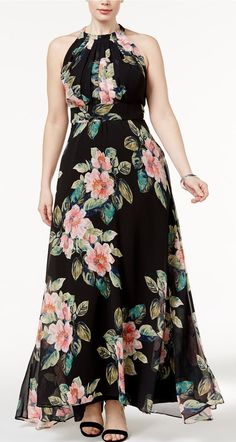 INC International Concepts Plus Size Floral-Print Maxi Dress, Only at Macy's Plus Sizes - Dresses - Macy's Wedding Dresses Plus Size, Plus Size Maxi Dresses, Women's Dresses, Plus Size Outfits, Dress Outfits, Fashion Dresses, Dress Up, Fashion Styles, Flowing Dresses