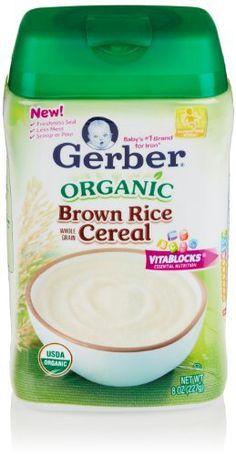 Gerber Baby Cereal, Organic Brown Rice, 8 Oz - http://goodvibeorganics.com/gerber-baby-cereal-organic-brown-rice-8-oz/