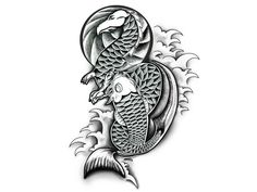Japanese Koi Dragon Fish Tattoo Design Sample Japanese Koi Fish Tattoo, Dragon Fish, Rose Design, Fish Tattoos, Tattoo Designs, Crafty, Image, Design Tattoos, Tattooed Guys