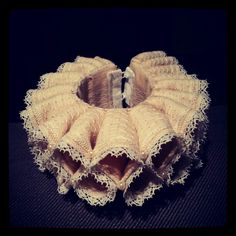 Early 17th Century cuff reproduction,  made by Angela Mombers - materials: cotton and pearl beads.