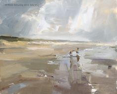 I would love this in an all neutral room    Seascape summer # 2 Kids playing / water - strand, painting by artist Roos Schuring