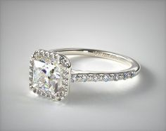 14K White Gold Halo and Shank Diamond Engagement Ring (Princess) | 17308W14 - Mobile