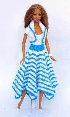 Crochet Dolls Patterns Crochet Tutorials: Doll Clothes Summer Set Irresistible Crochet a Doll Ideas. Wonderfully Creative Crochet a Doll Ideas. Crochet Doll Dress, Crochet Barbie Clothes, Doll Clothes Barbie, Crochet Doll Pattern, Barbie Dress, Barbie Doll, Crochet Patterns, Knitting Patterns, Barbie Clothes Patterns