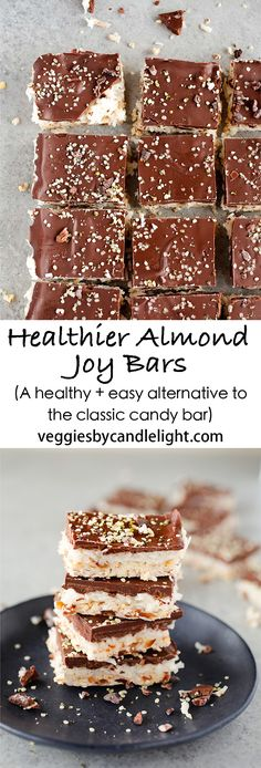 Healthy Almond Joy Bars - A killer combination of coconut almonds and dark chocolate make these a healthy and easy alternative to the classic candy bar Paleo Dessert, Healthy Dessert Recipes, Healthy Baking, Easy Desserts, Delicious Desserts, Bar Recipes, Sweet Desserts, Light Recipes, Dessert Bars