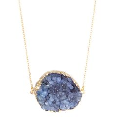 Periwinkle Drusy & 14k Gold Pendant Necklace |