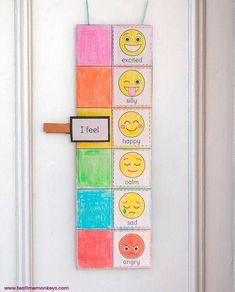 Editable Mood Meter Clip Card - Tea Time Monkeys Emotions Preschool, Teaching Emotions, Emotions Activities, Preschool Learning Activities, Social Emotional Learning, Toddler Activities, Preschool Activities, Teaching Kids, Kids Routine Chart