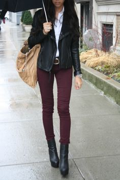 Burgundy pants, leather jacket, and black wedge booties. (Jus need the oxblood colored skinnies!)