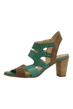 "These fabulous green and taupe pumps are hand crafted with extremely soft european leather. Contrast stitching for a beautiful finish leather covered elastic at ankle for easy comfort and perfect fit. Approximate 3"" stacked wood heel.  Sizing:Size 38.5 fits US size 7.5. Size 40 fits US size 9.  Green Leather Heel by Fidji. Shoes - Sandals - Heeled California"