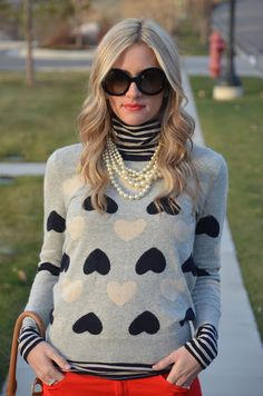 <3. Have this sweater and pearls- wear without the stripes and navy blazer over it with winter white skinny cords