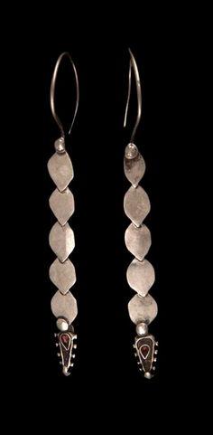 Afghanistan Pair of earrings from Kabul or Nuristan; Tribal Jewelry, Metal Jewelry, Boho Jewelry, Jewelry Art, Antique Jewelry, Beaded Jewelry, Silver Jewelry, Jewelry Design, Jewellery