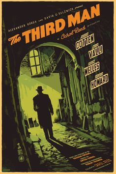 'The Third Man' 1949 British film noir starring Joseph Cotten, Alida Valli, Orson Welles and Trevor Howard Old Movie Posters, Classic Movie Posters, Cinema Posters, Movie Poster Art, Classic Films, Vintage Posters, Poster Wall, Cinema Paradisio, Gravure Illustration