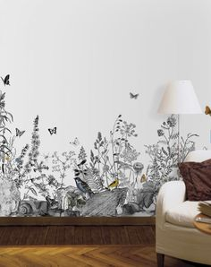 Would love t paint this on a nursery wall for an outdoors/nature theme. The monochrome look is delicate but beautiful