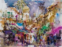 Kampong Glam Impression (watercolor and gouache on paper, 25x34) by Woon Lam Ng | watercolor painting