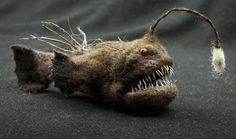 Anglerfish - needle felted animal by Grisha Dubrovsky, wool artist sculpture…