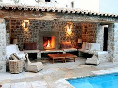 Sunken garden idea - Callas house rental - cool poolside lounging by day or cosy fireplace at night Cosy Fireplace, Backyard Fireplace, Outdoor Areas, Outdoor Rooms, Outdoor Living, Pergola Patio, Backyard Patio, Stone Houses, Pool Houses